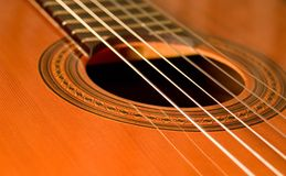 Acoustic guitar 03. Fretboard of acoustic guitar with nailon strings Royalty Free Stock Photos