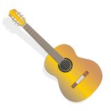 Acoustic guitar. Isolated on white background Stock Photos