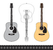Acoustic guitar. Isolated on white. All elements are separate. File is layered Royalty Free Stock Images
