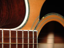 Acoustic Guitar. The inside and outside of an acoustic guitar Royalty Free Stock Photo