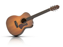 Acoustic Guitar. 3D rendered acoustic guitar with reflection on white ground Royalty Free Stock Images