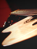 Acoustic guitar. Close up detailed view at acoustic guitar royalty free stock images