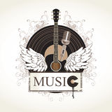 Acoustic guitar. Banner with an acoustic guitar and a gramophone record Stock Images