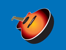 Acoustic Guitar. An acoustic guitar with sunburst finish stock illustration