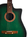 Acoustic guitar. A green acoustic guitar over white background Royalty Free Stock Photos