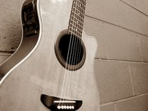 Acoustic Guitar. Semi Acoustic Guitar - mono colour Royalty Free Stock Photography