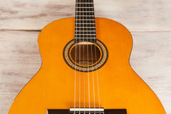 Acoustic Guitar From Above. Acoustic guitar close up from above Royalty Free Stock Image
