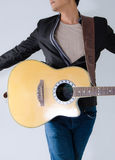 Acoustic guitar in action Stock Images