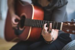Acoustic, Guitar, Adult Stock Photography