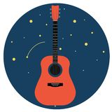 Acoustic guitar against the starry sky isolated on white background Vector illustration royalty free illustration