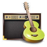 Acoustic guitar and amplifier or guid Royalty Free Stock Photography