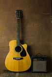 Acoustic guitar and amplifier Stock Photos
