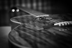 Acoustic Guitar B/W 2 Royalty Free Stock Images
