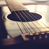 Acoustic guitar background - Square composition. Low angle view Stock Photo