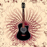 Acoustic guitar. Banner with acoustic guitar on beige background Stock Photo