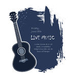 Acoustic guitar banner. Acoustic guitar live music banner template illustration stock illustration