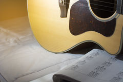 Acoustic guitar and basic chord. Stock Photo