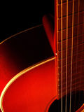 Acoustic guitar on black background 6. Acoustic guitar on black background. Macro. Close up Stock Photo