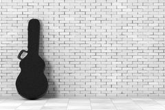 Acoustic Guitar Black Leather Hard Case. 3d Rendering. Acoustic Guitar Black Leather Hard Case in front of brick wall. 3d Rendering Royalty Free Stock Image