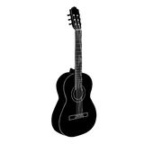 Acoustic guitar. Black white isolated vector illustration Stock Images