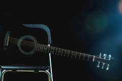Acoustic Guitar in black Stock Photos