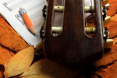 Acoustic guitar, blank music notes, pencil with autumn leaves background. Creative set of acoustic guitar, blank music notes and pencil Stock Image