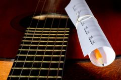 Acoustic guitar, blank music notes, pencil. Creative set of acoustic guitar, blank music notes and pencil Stock Images