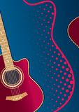 Acoustic guitar. On a blue poster for a concert Royalty Free Stock Photography