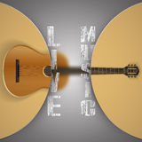 Acoustic guitar with blurred background. Vector illustration of a music template frame acoustic guitar with blurred background and the inscription live music Stock Photos