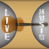 Acoustic guitar with blurred background. Vector illustration of a music template frame acoustic guitar with blurred background and the inscription live music Stock Photo