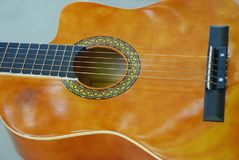 An acoustic guitar body. A photo taken on the body of an acoustic guitar Stock Image