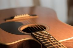 An Acoustic guitar body view stock photo