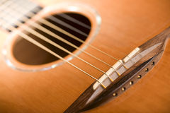 Acoustic guitar - bridge Royalty Free Stock Images