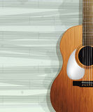 Acoustic guitar card. Design. Sample layout with room for text Royalty Free Stock Images