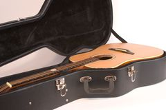 Acoustic Guitar and Case. Isolated Acoustic Guitar and Case stock images