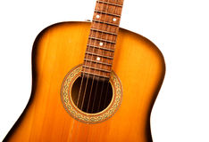 Acoustic guitar central part closeup Stock Photography