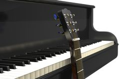 Acoustic guitar and classical grand piano 3d illustration. Acoustic guitar and classical grand piano on white background 3d illustration Royalty Free Stock Images