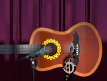 Acoustic guitar, clef and microphone on a curtain background 3d vector illustration