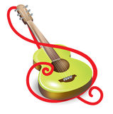 Acoustic guitar and clef symbol Royalty Free Stock Image