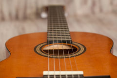 Acoustic Guitar Close Up Macro Royalty Free Stock Photo