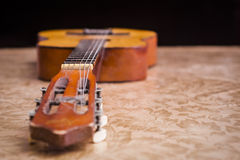 Acoustic Guitar. Close-up of a part of an old acoustic guitar Royalty Free Stock Photos
