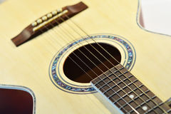 Acoustic guitar close-up photography.  Royalty Free Stock Photos