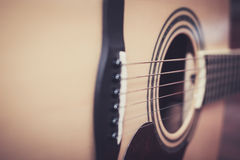 Acoustic guitar. Close up of acoustic guitar, select focus with shallow depth of field Stock Photos