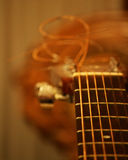 Acoustic guitar closeup. An acoustic guitar closeup, macro, accords stock illustration
