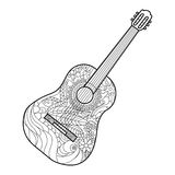 Acoustic guitar coloring book for adults vector Royalty Free Stock Image