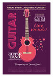 Acoustic guitar concert flyer template. Retro typographical  poster. Flat style design. Stock Photography