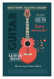 Acoustic guitar concert flyer template. Retro typographical  poster. Flat style design. Stock Image