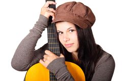 Acoustic Guitar, Cute, Female, Girl Stock Photo