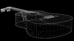 Acoustic Guitar. 3D model body structure, wire model Stock Photos