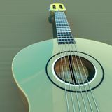 Acoustic guitar 3d. Acoustic guitar over wooden table, 3d rendering Stock Images
